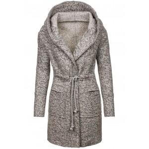 Šedý dámský kabát s kapucí