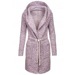 Dlouhý dámský kabát růžový