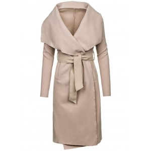 Dámský béžový kabát bez kapuce