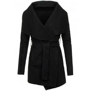 Černý kabát dámský s knoflíky