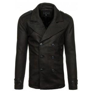Černý pánský kabát se zapínáním na knoflíky