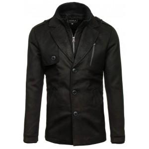 Dlouhý pánský kabát černé barvy na zimu