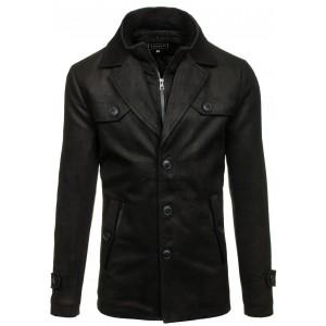 Pánský kabát dlouhý na zimu v černé barvě