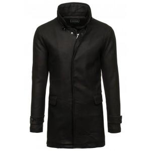 Elegantní pánský kabát v černé barvě bez kapuce
