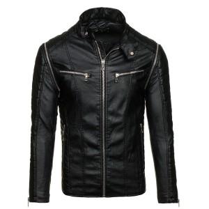 Stylová pánská kožená bunda černé barvy