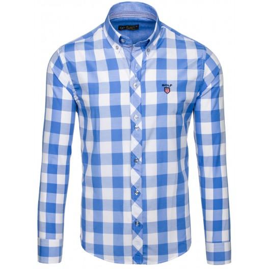 6d35d2eb4a2 Kostkovaná pánská košile ve světle modré barvě - manozo.cz