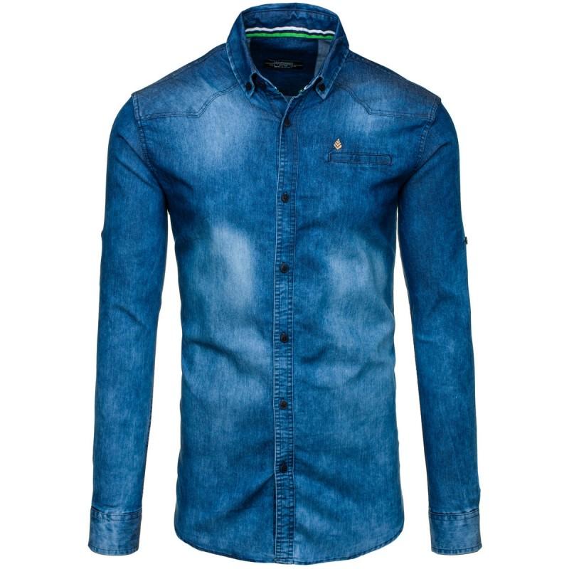 Modrá riflová pánská košile s dlouhým rukávem - manozo.cz 3b0ca4d58d
