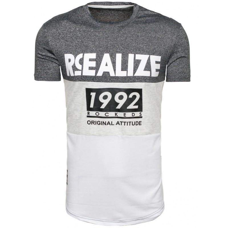 Sportovní pánské tričko šedě bílé barvy s nápisem - manozo.cz 1bdb318dfb