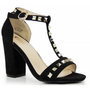 Semišové sandály na hrubém podpatku se šperky a přezkou v černé barvě