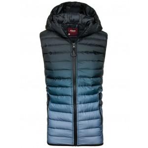 Pánská prošívaná vesta s kapucí černo modré barvy