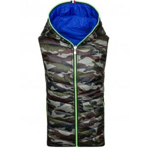 Oboustranná pánská vesta na zip s kapucí v modré barvě