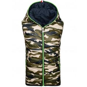 Oboustranná army vesta s kapucí na zip v tmavě modré barvě