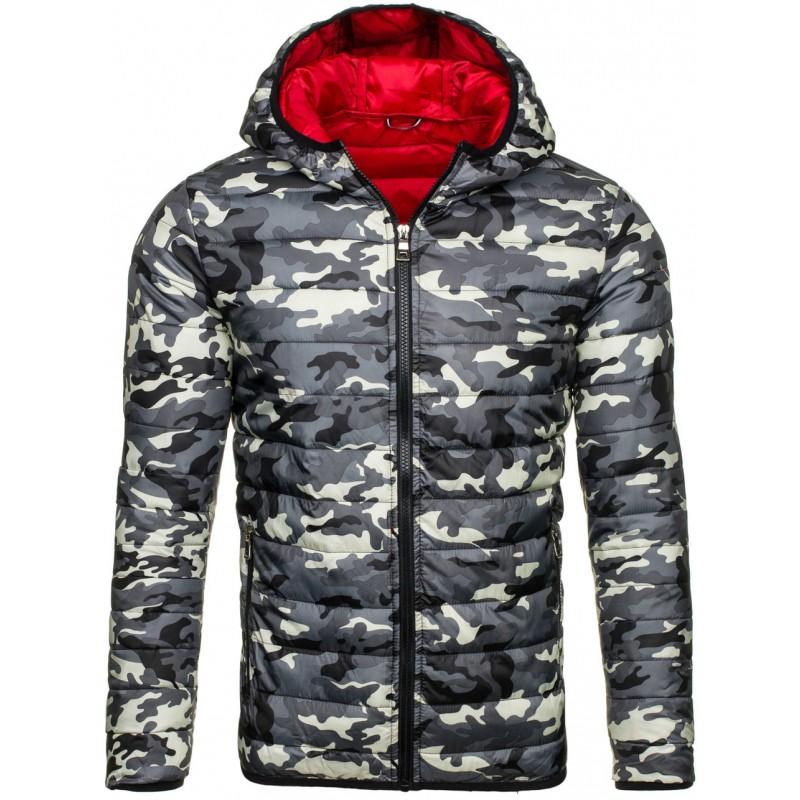 f2258ca69b5d Jedinečná jarní prošívaná bunda pro pány v šedé barvě v army stylu ...
