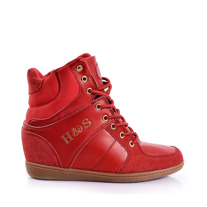 81be255dc8c ... obuv Červené dámské kotníkové boty na šněrování. Předchozí