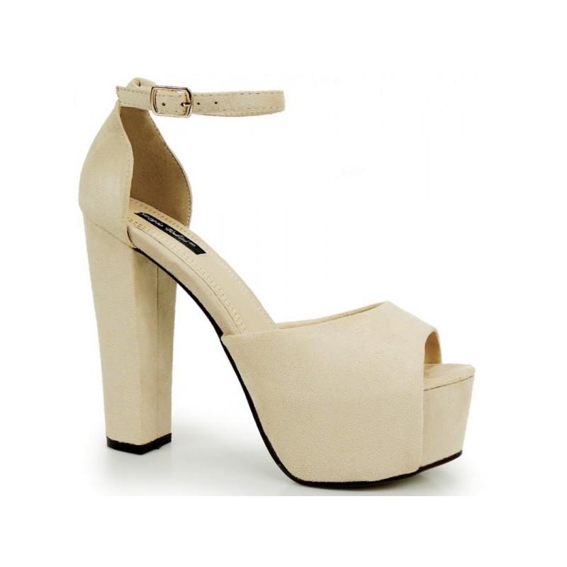 b208e8fc51f8 Dámské sandály na hrubém podpatku s platformou v béžové barvě ...