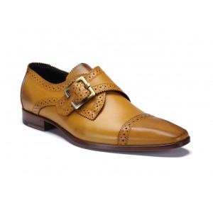 Žluté stylové kožené boty na přezku COMODO E SANO