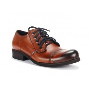 Pánské hnědé kožené boty s tmavou špičkou COMODO E SANO