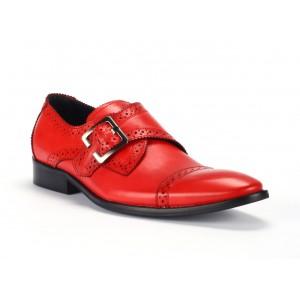 Pánské červené kožené boty s přezkou a imitací dírek COMODO E SANO