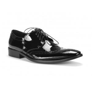 Kožené elegantní černé lakované boty pro pány COMODO E SANO
