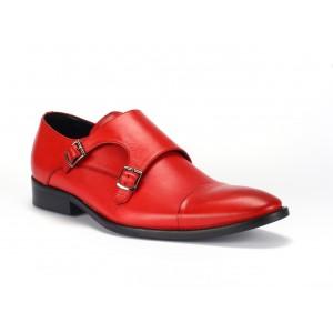 Červené kožené boty s dvěma přezkami pro pány COMODO E SANO