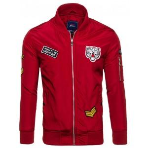 Červená bomber bunda pro pány na jaro