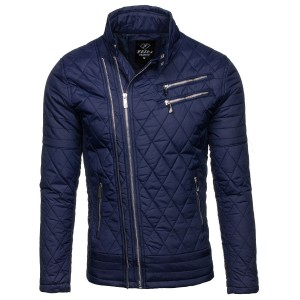 Pánská přechodná bunda prošívaná v modré barvě se šikmým zipem