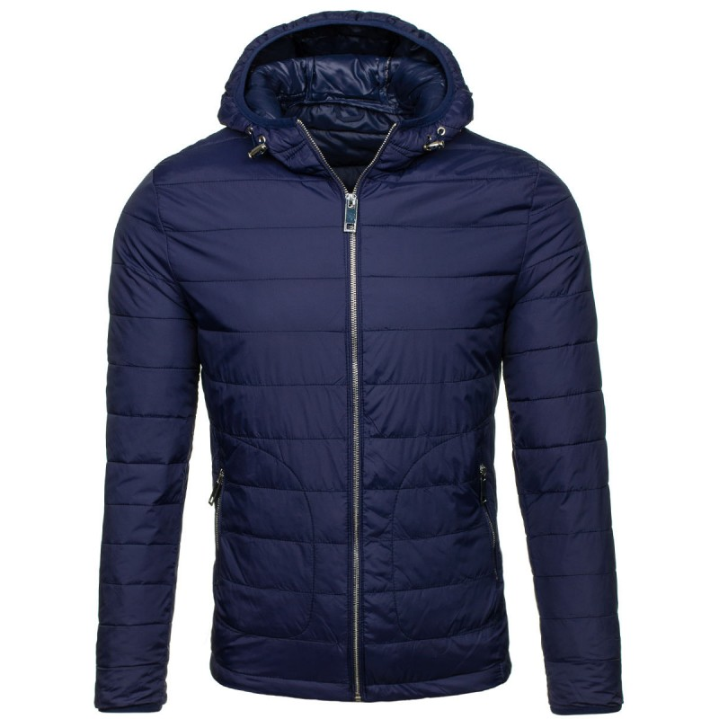 76542175b23c Prošívaná jarní bunda pro pány v modré barvě s kapucí - manozo.cz