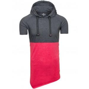 Tričko s krátkým rukávem v červeno šedé barvě