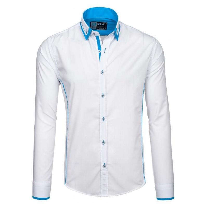 754927fb695 Elegantní pánská košile bílé barvy s modrým lemem na límci - manozo.cz