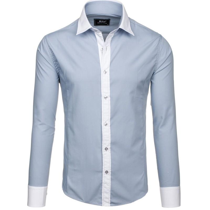 8b558e23ab7 Světle šedá pánská košile s bílým lemem - manozo.cz