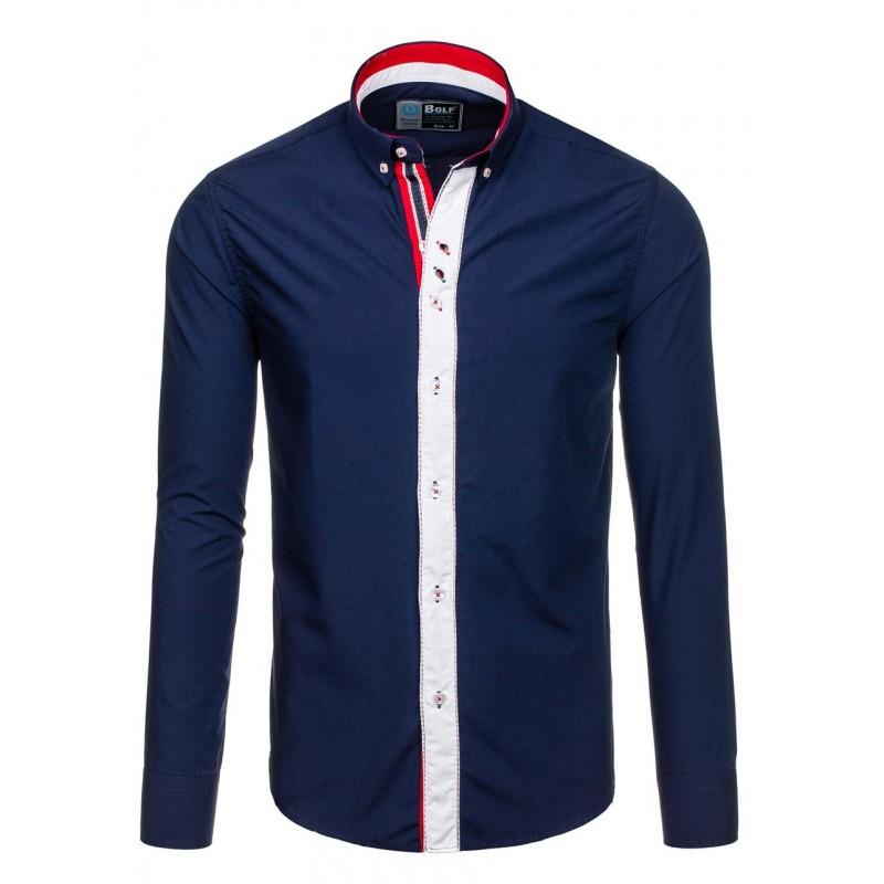 ... rukávem Pánská košile tmavě modré barvy s dlouhým rukávem a knoflíky na  límci. Předchozí 6971d882ea