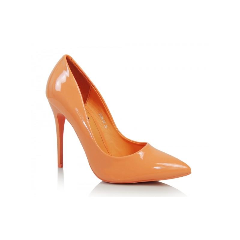 Oranžové dámské lodičky na vysokém podpatku se špičatou špičkou ... 7238c899fc