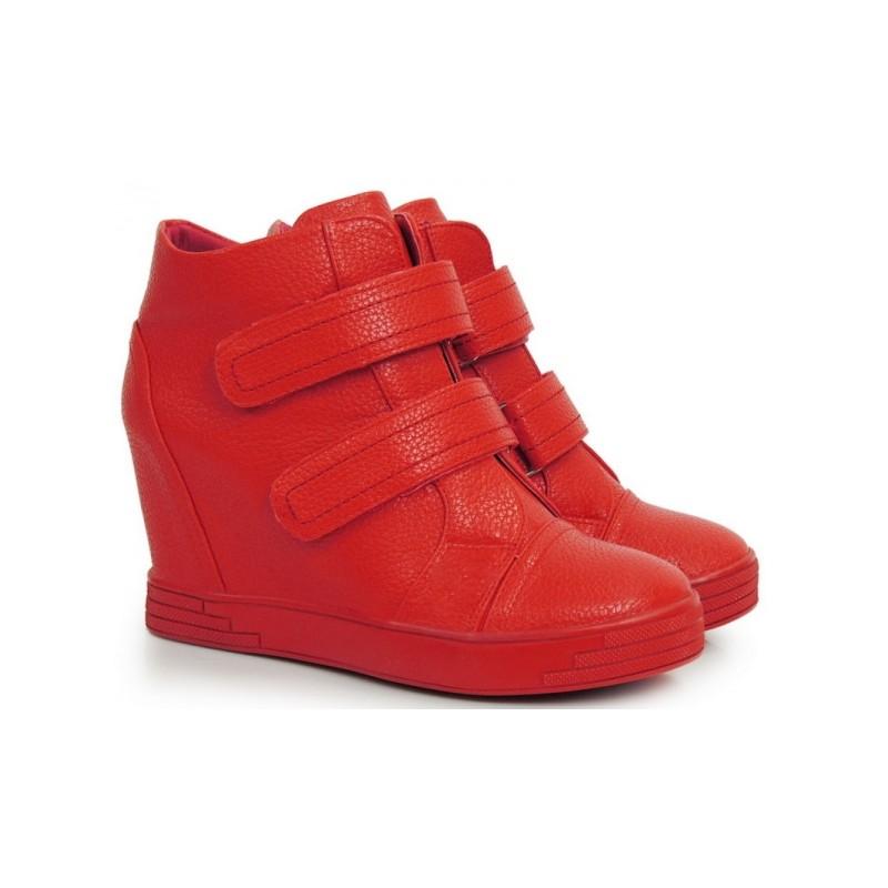 2b379e6b4 Červené kotníkové boty na platformě se zapínáním na suchý zip ...