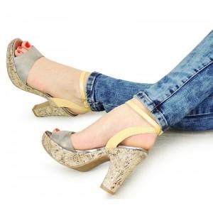 Dámské letní sandály na podpatku stříbrno žluté