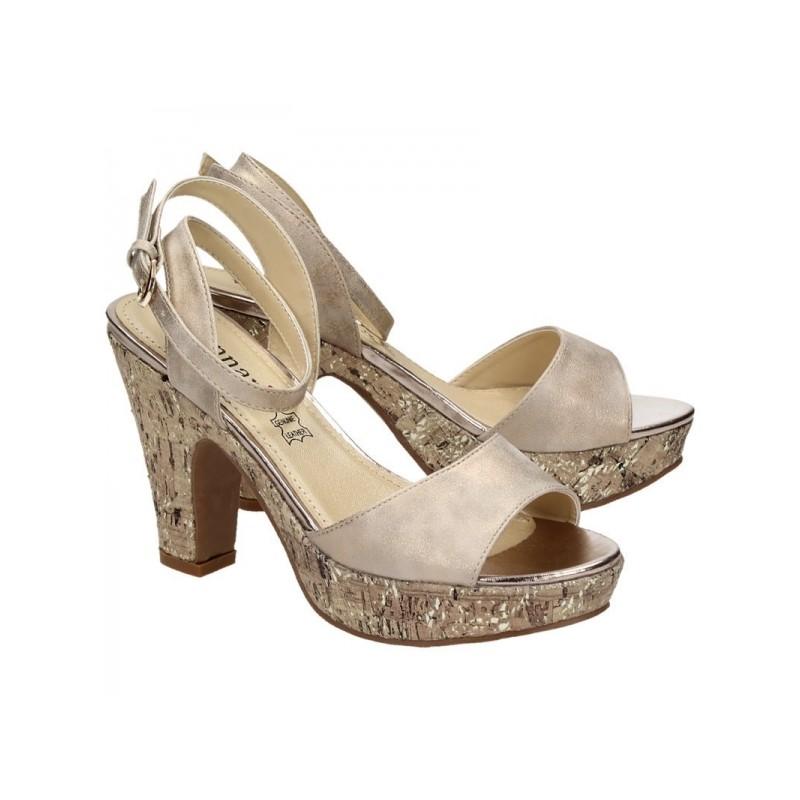 03d0e6fdae0c2 Dámské stříbrno zlaté sandály na platformě se zapínáním na přezku ...