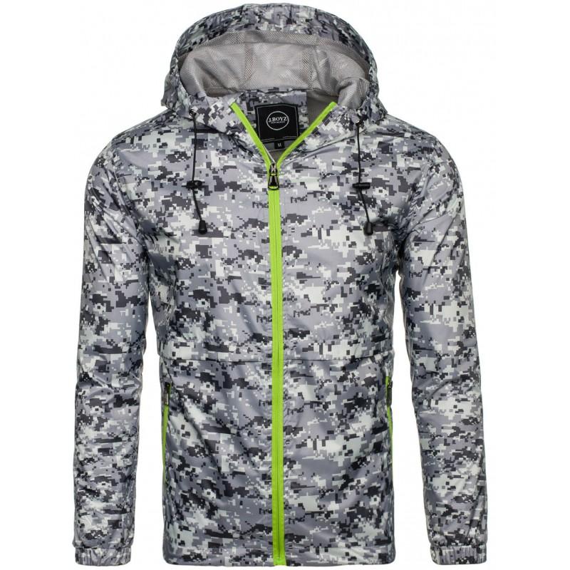 fe481cad6142 Stylová pánská přechodná bunda šedé barvy s výrazným zeleným zipem ...
