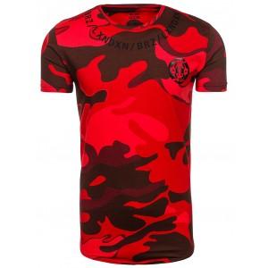 Červené pánské tričko s maskáčovým motivem