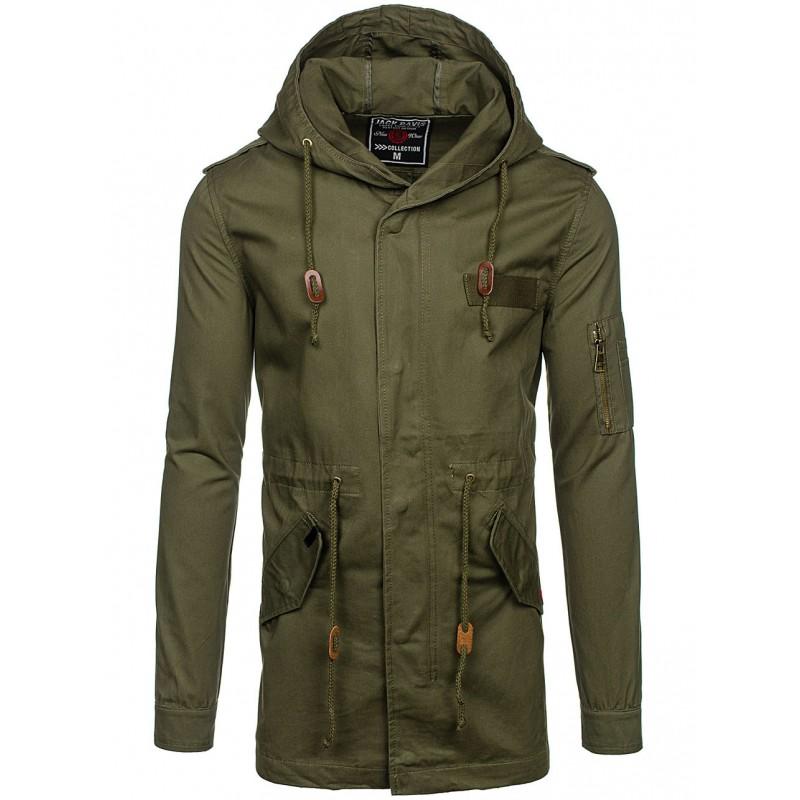 7f9370d2e4 ... bundy Zelený pánský jarní kabát s kapucí. Předchozí