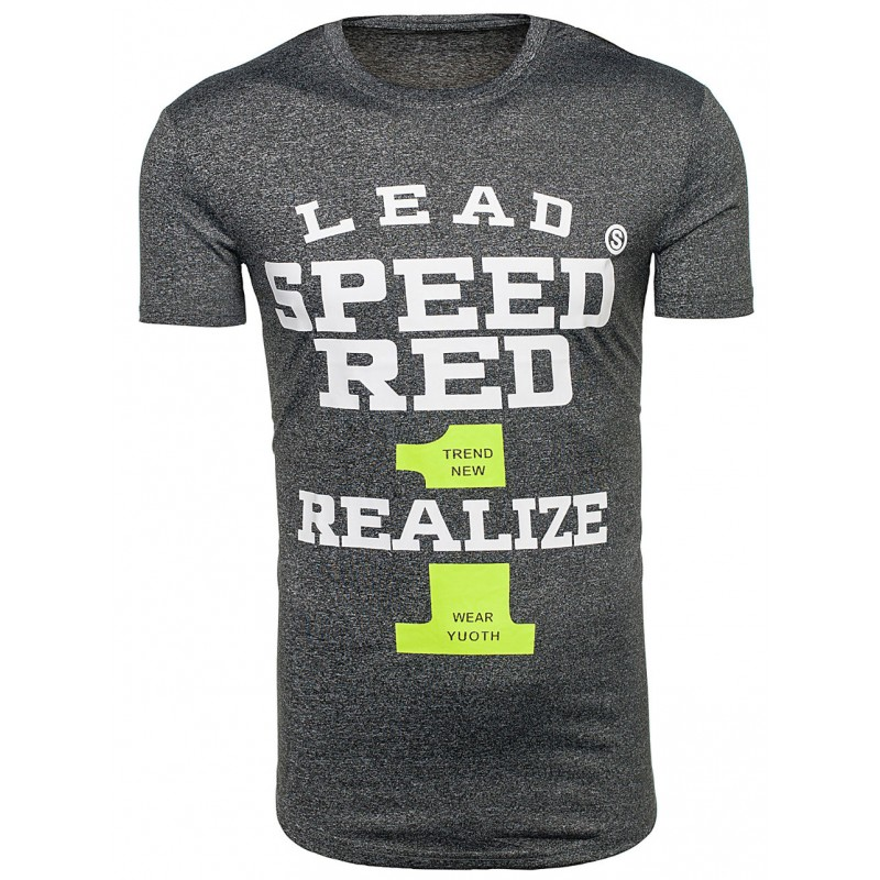88ed493a5308 Pánské tričko tmavě šedé barvy s nápisem SPEED RED - manozo.cz