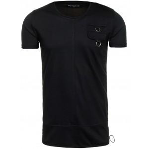 Černé pánské tričko s kapsou na hrudi