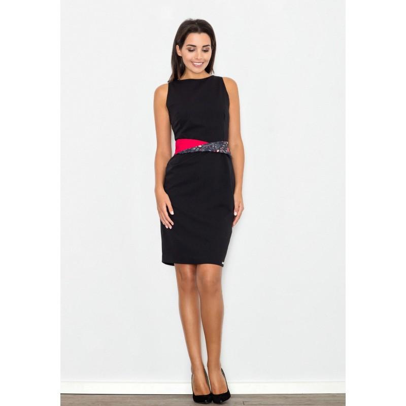Černé elegantní dámské šaty s barevným páskem - manozo.cz 88399a40bd