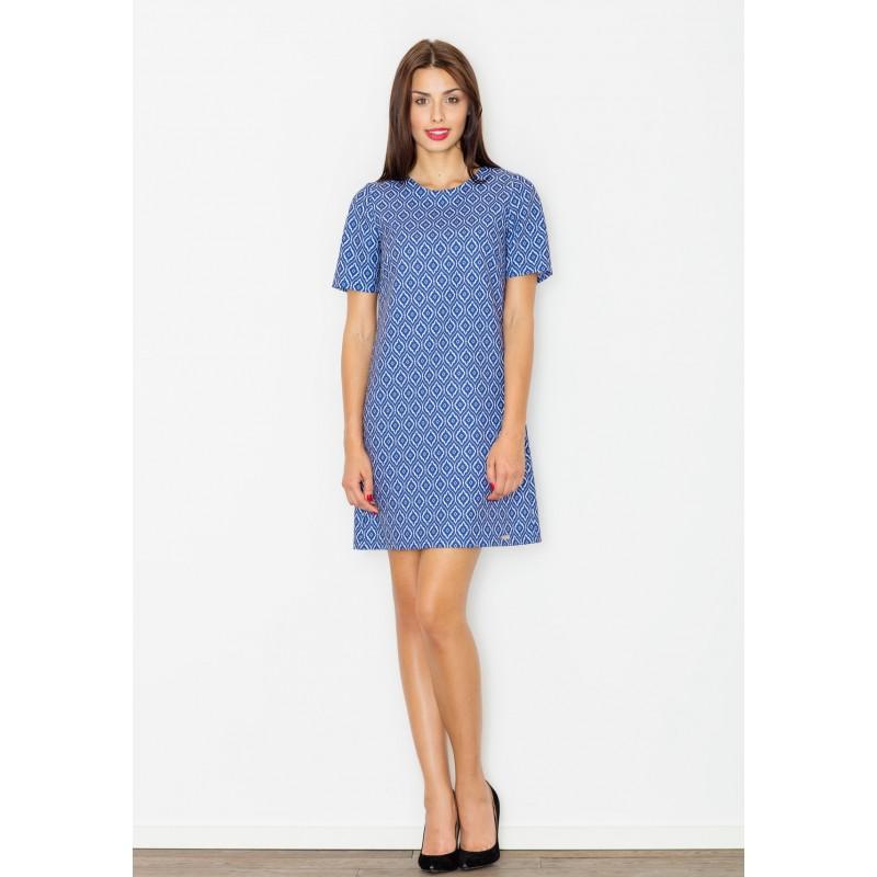 812ce1e3933e Modré dámské letní šaty s geometrickým vzorem - manozo.cz