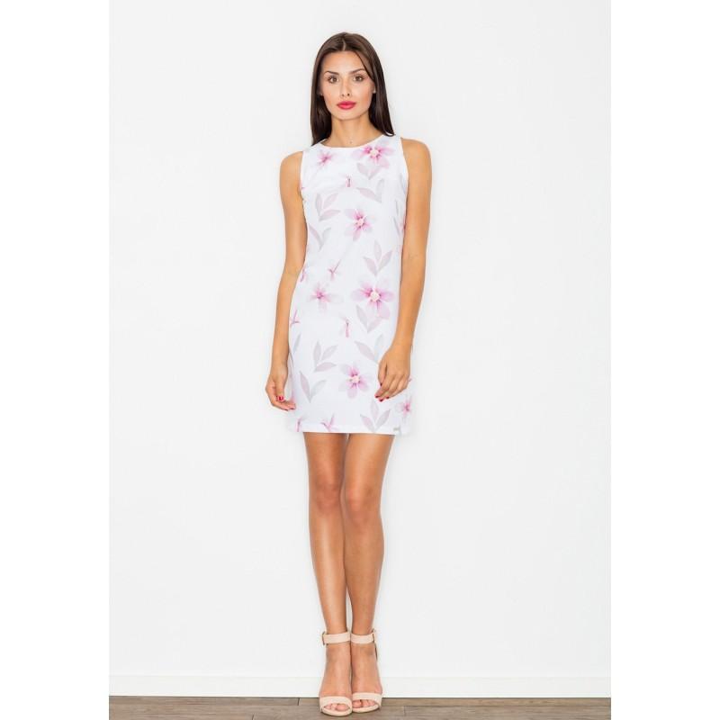 Krátké dámské šaty s květy bílé barvy - manozo.cz f434aa49dfa