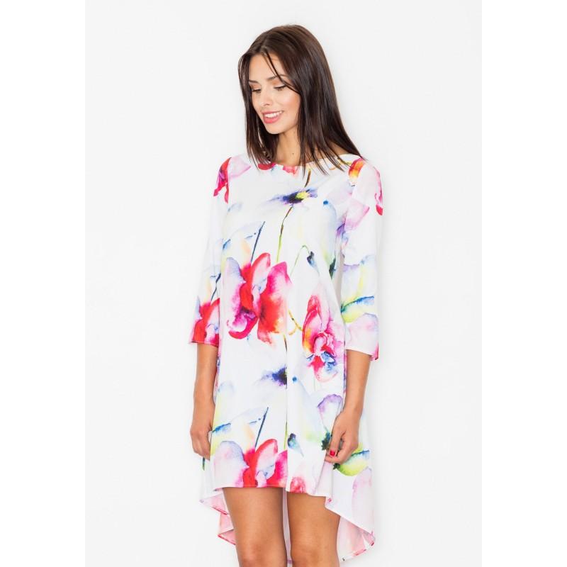 Polodlouhé dámské šaty bílé barvy s květinami - manozo.cz 5d062ceeba