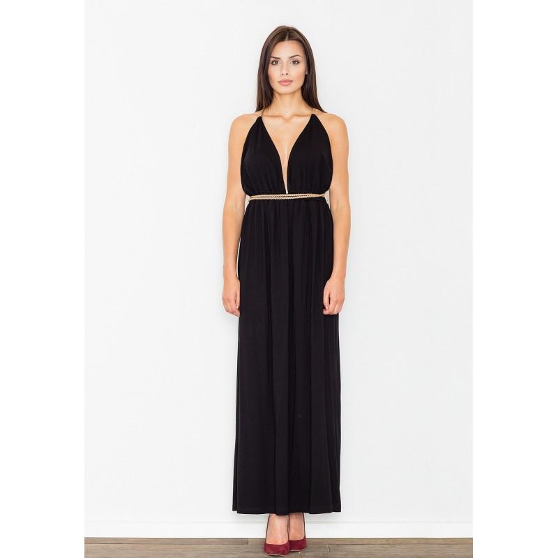 Černé dlouhé dámské šaty na ples - manozo.cz e4a2ac465e6
