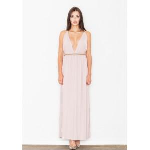 Světle růžové dlouhé dámské šaty s hlubokým výstřihem