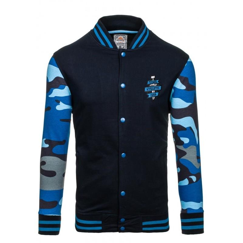 ... kapuce Pánská mikina bez kapuce s maskáčovým vzorem v modré barvě.  Předchozí 0840f6f8d3