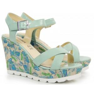 Trendy sandály na platformě modré se zapínáním na přezku