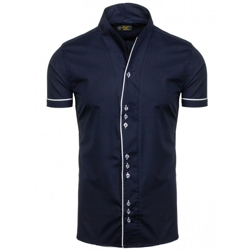 078a9ea29e4 Tmavě modrá moderní pánská košile s krátkým rukávem - manozo.cz