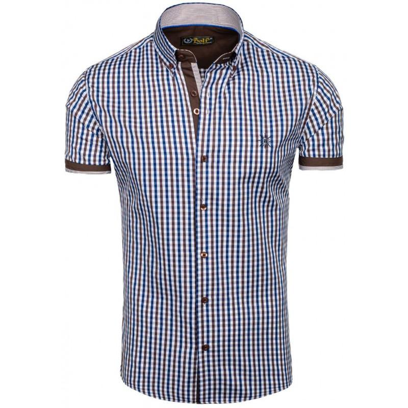... rukávem Moderní pánská košile s krátkým rukávem v hnědo modré barvě.  Předchozí 76decb2d3d